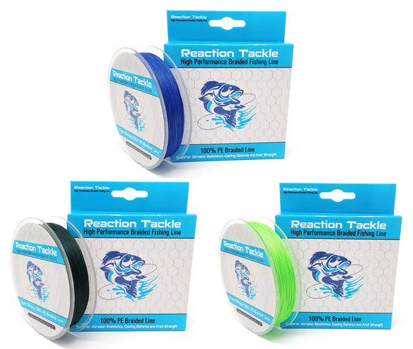 Reaction Tackle (9-STRAND) Braided Fishing Line- 300yds-Various Sizes and Colors