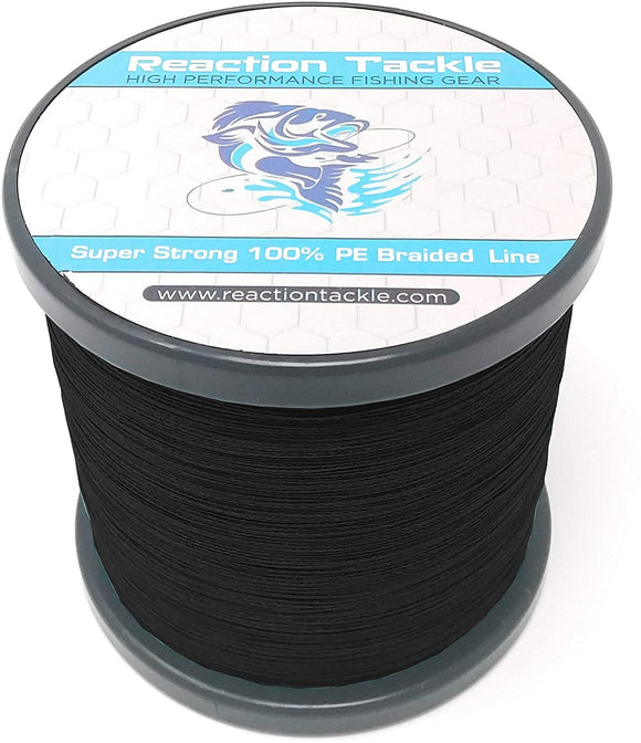 Reaction Tackle Braided Fishing Line- NEW NO FADE Black