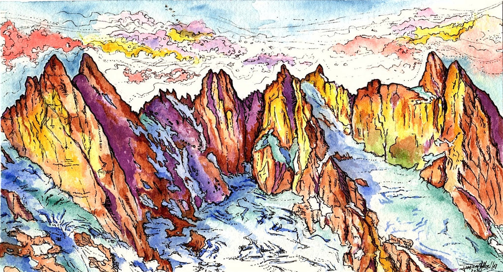 Jess Greenleaf Artist Watercolor Painting Greenleaf and Blueberry Pickett Mountain Range Washington North Cascades