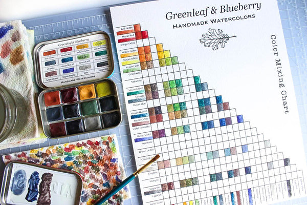Greenleaf & Blueberry Artisanal Handmade Watercolors Color Mixing Chart