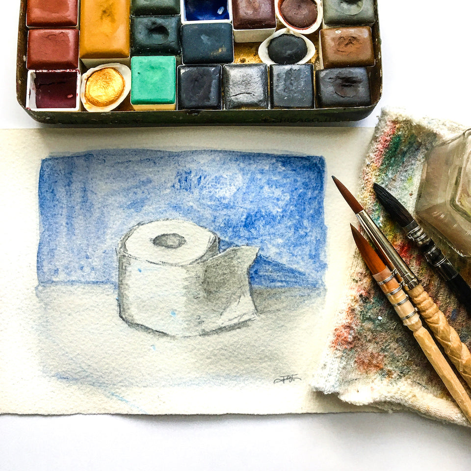 Greenleaf & Blueberry Handmade Watercolors Natural Pigments Artisanal Watercolors Travel Palette Jess Greenleaf Pandemic Painting Toilet Paper Still Life