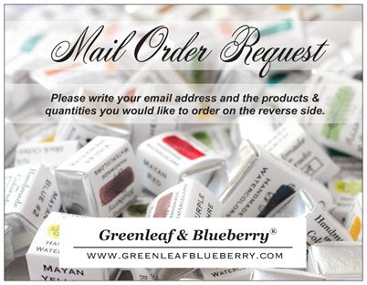 Greenleaf and Blueberry Mail Order Request Card How To Purchase