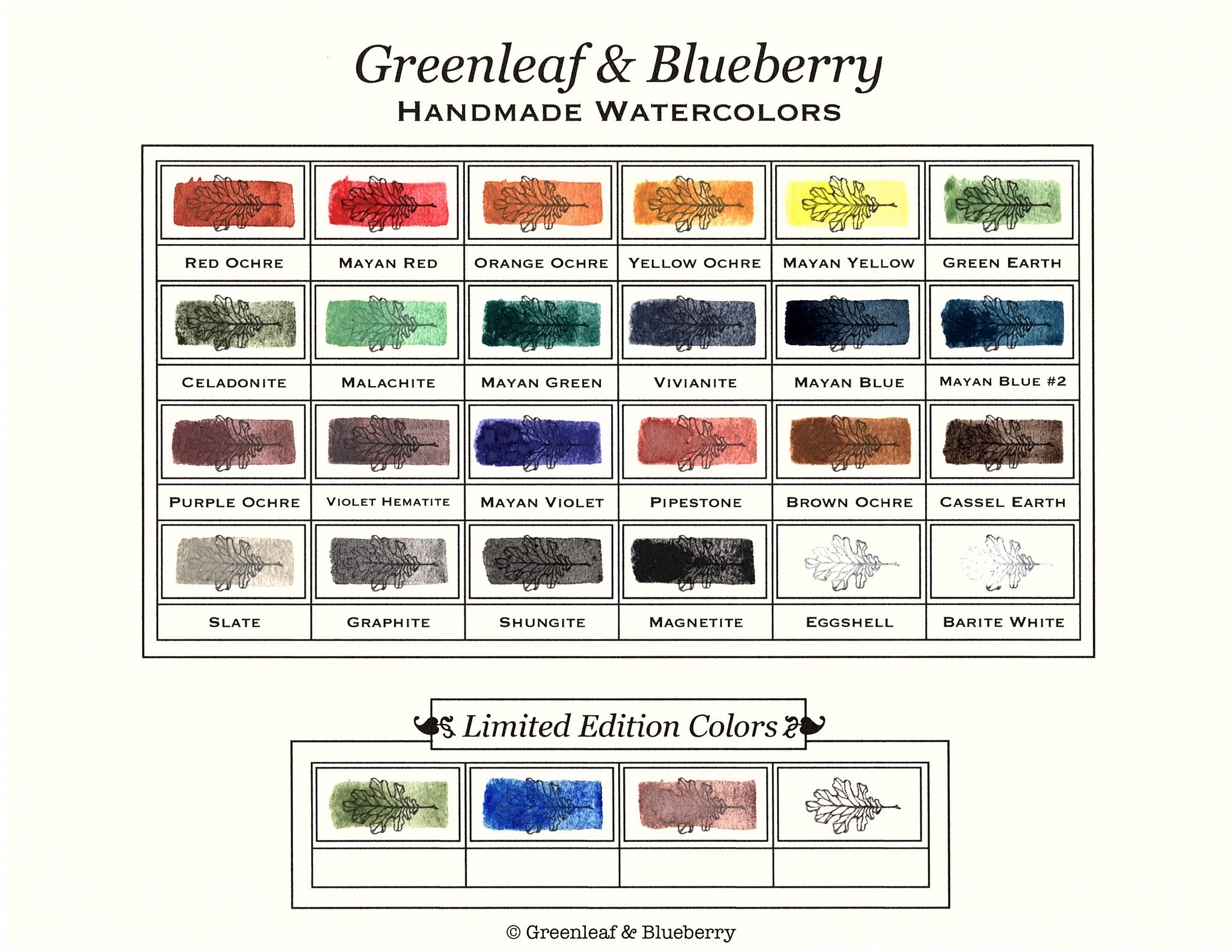 Greenleaf & Blueberry Color Chart