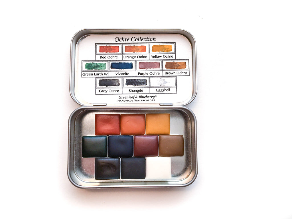 The Ochre Collection Greenleaf and Blueberry Handmade Watercolors Artisanal Watercolor Paints Pans
