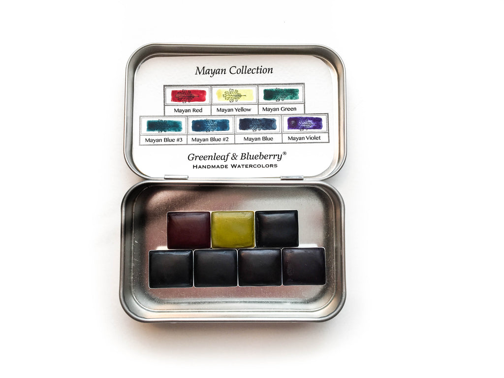 The Mayan Collection Greenleaf and Blueberry Handmade Watercolors Artisanal Watercolors Watercolor Pans Aquarelle