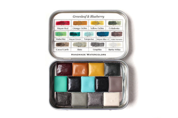 Greenleaf & Blueberry Artisanal Handmade Watercolors The Mountain Set