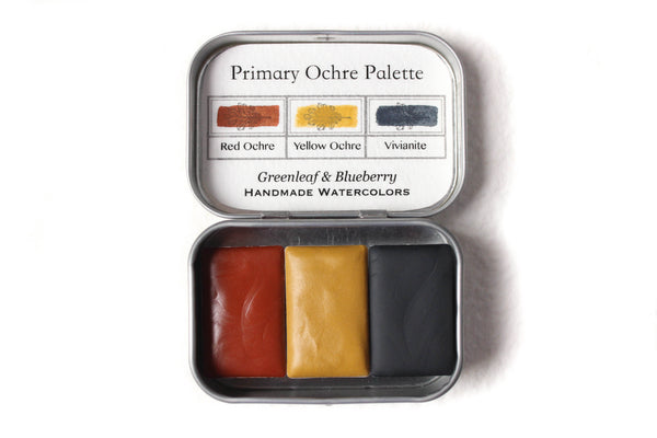 Greenleaf & Blueberry Artisanal Handmade Watercolors The Primary Ochre Palette Featuring Vivianite