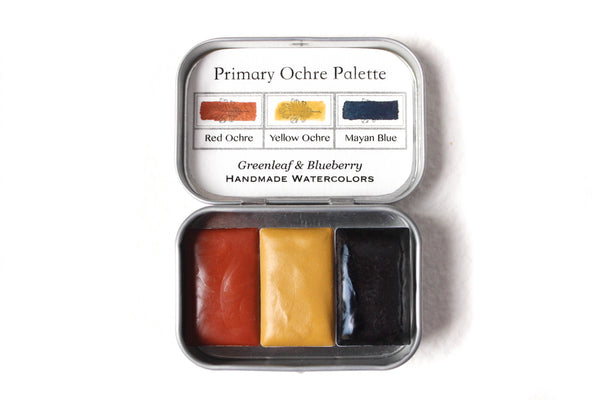 Greenleaf & Blueberry Artisanal Handmade Watercolors The Primary Ochre Palette Featuring Mayan Blue