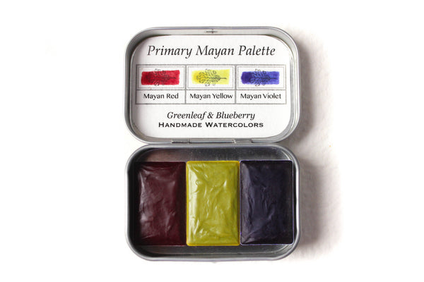 Greenleaf & Blueberry Artisanal Handmade Watercolors The Primary Mayan Palette Featuring Mayan Violet