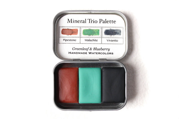 Greenleaf & Blueberry Artisanal Handmade Watercolors The Mineral Trio Travel Palette