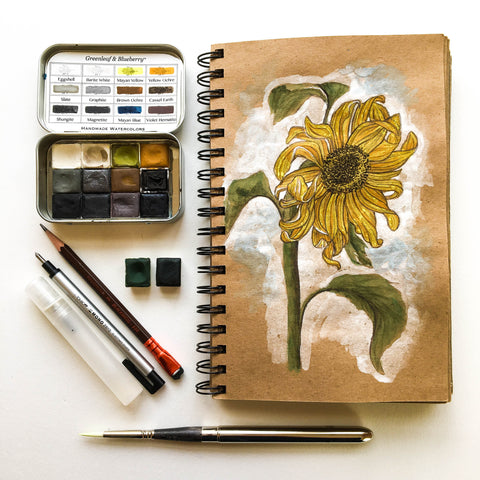Greenleaf and Blueberry Artisanal Handmade Watercolors Painting Jess Greenleaf Alexander Marshall Sunflower