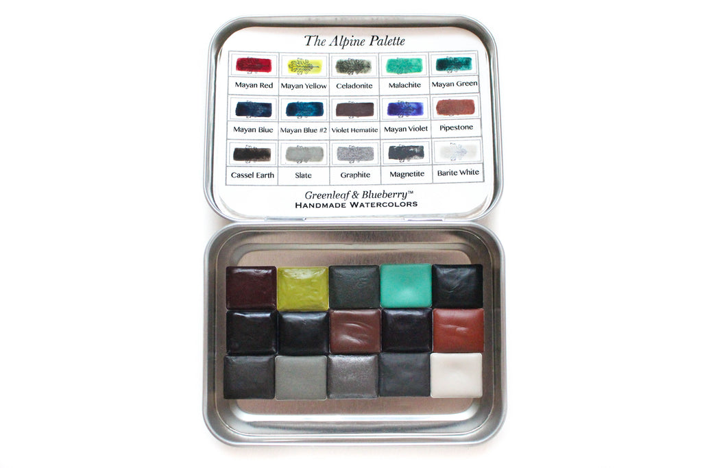 Greenleaf & Blueberry Artisanal Handmade Watercolors The Alpine Travel Palette