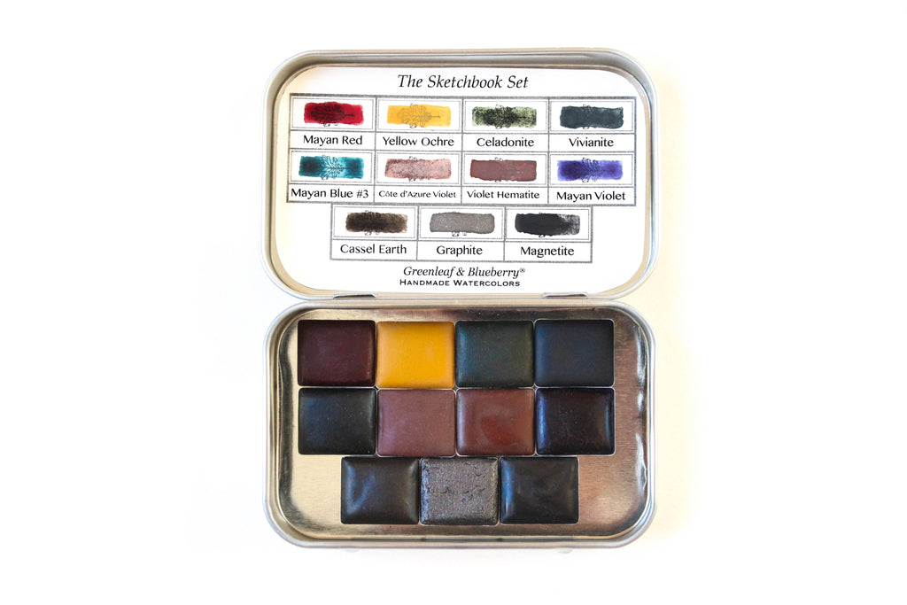 Greenleaf and Blueberry Artisanal Handmade Watercolors Travel Watercolor Palette Paint Set Half Pans Jess Greenleaf Modern Calligraphy Sketchbook Practice
