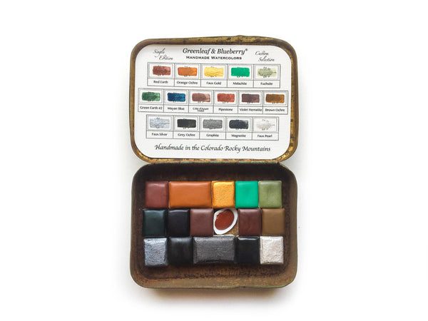 Greenleaf and Blueberry Handmade Watercolor Paints Natural Pigments Paint Palette