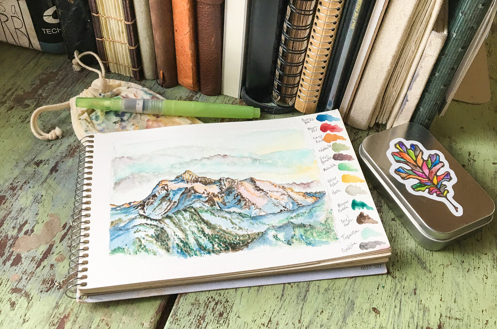 Jess Greenleaf Artist Greenleaf and Blueberry Watercolor Painting Mt. Shuksan