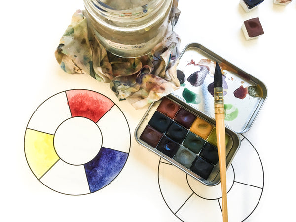 Greenleaf & Blueberry Handmade Watercolor Paints Muller and Slab Traditional Watercolors color wheel