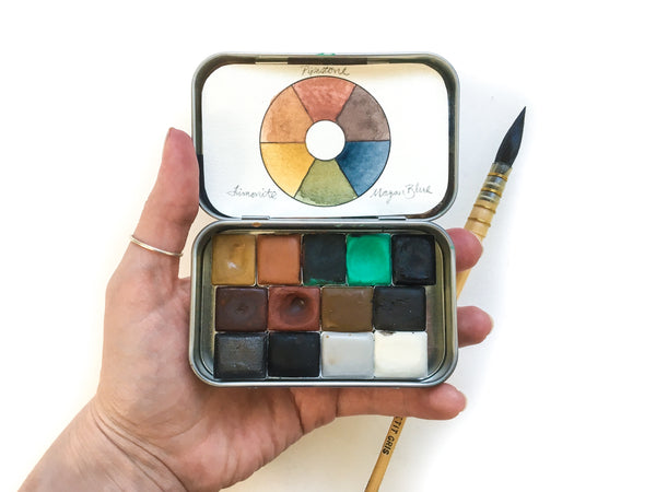 Greenleaf & Blueberry Sequel Set Hand Painted Color Chart Primary Colors Ochre Pigments