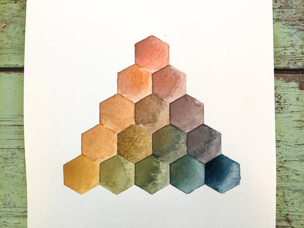 Greenleaf & Blueberry Handmade Watercolors Creating A Color Pyramid Triangle Color Mixing Chart Color wheel