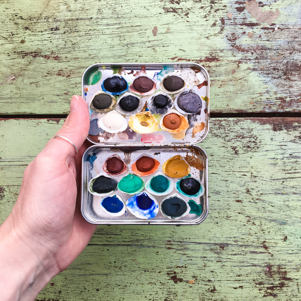 Greenleaf & Blueberry Handmade Watercolors Artisanal Watercolor Paints Plein Air Painting Full Pans Natural Pigments Seashells Shell Pans
