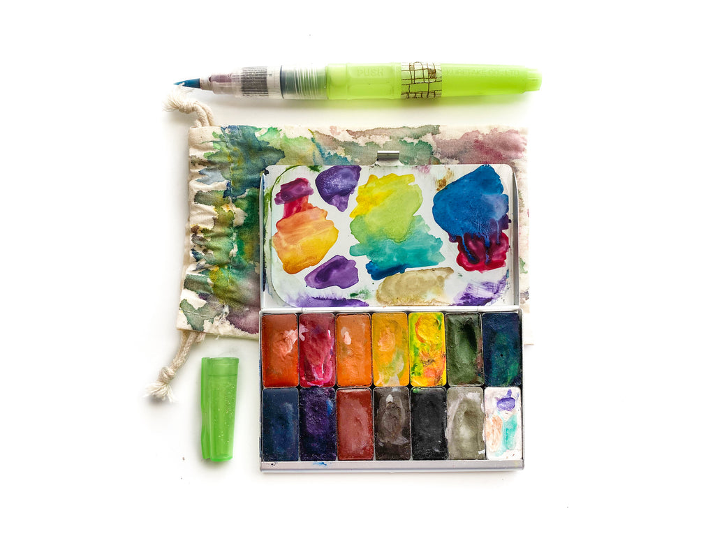 Greenleaf & Blueberry Handmade Watercolor Paints Natural Pigments Travel Palette Art Toolkit Pocket Palette Hybrid Watercolors