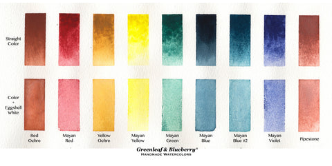 Greenleaf and Blueberry Artisanal Handmade Watercolors Mayan Red Mayan Yellow How to use White in Watercolor