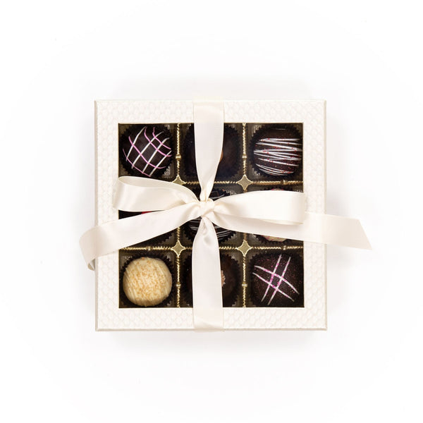 Large Truffle Chocolate White Box with Bow