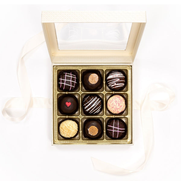 Large Truffle Chocolate White Box with Bow 2