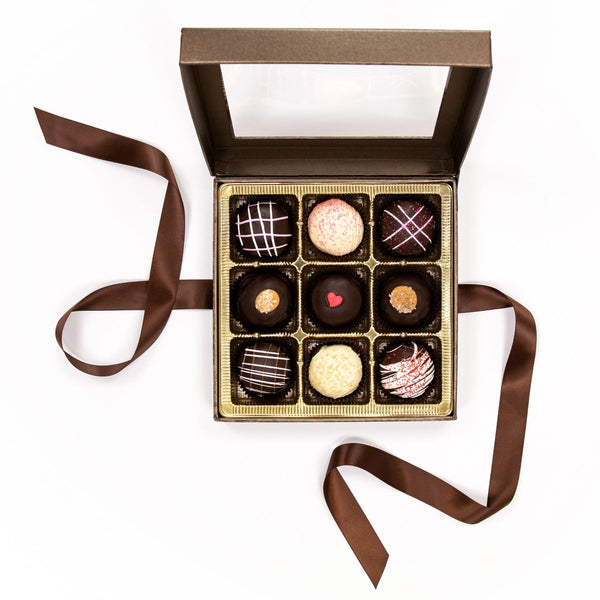 Large Truffle Chocolate Brown Box with Bow 2