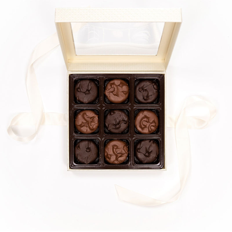 Assorted Chocolate Covered Cookie White Box with Bow