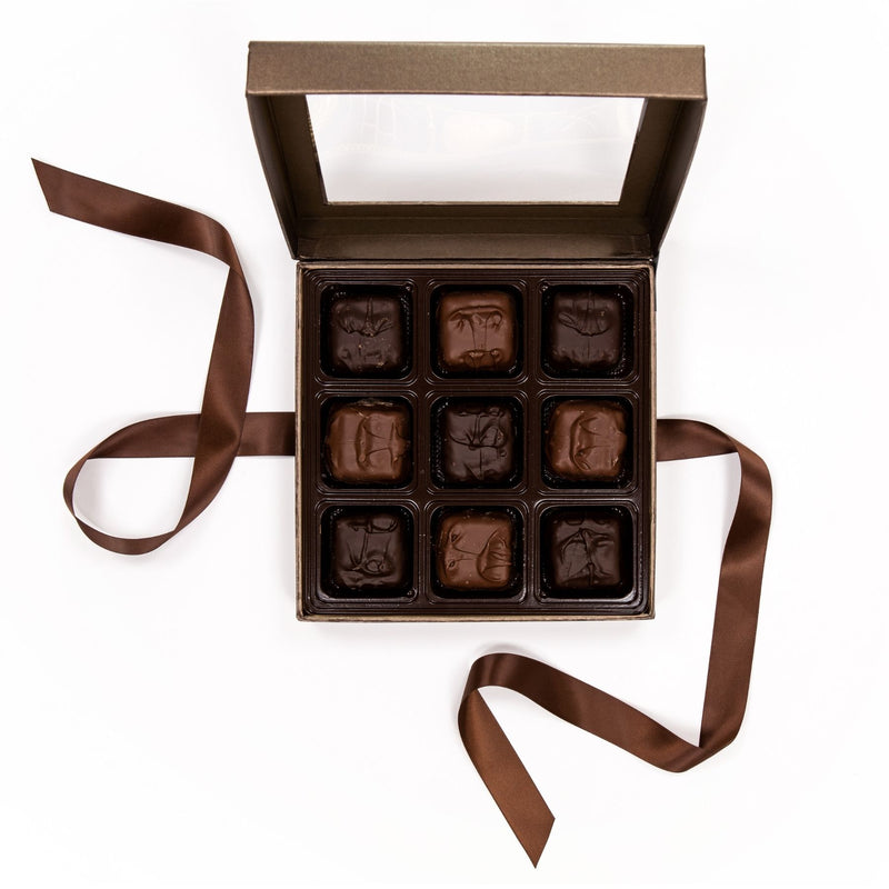 Assorted Chocolate Covered Marshmallow Brown Box with Bow