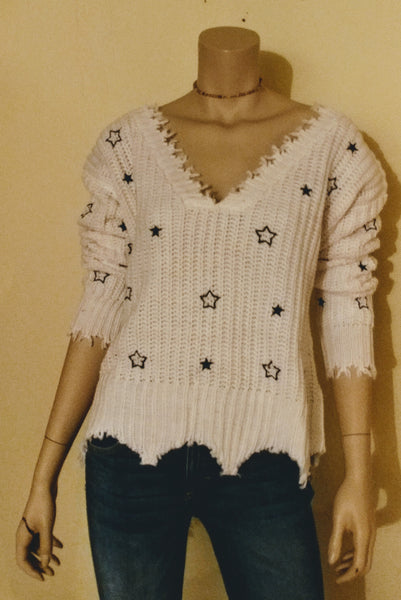 4si3nna white star sweater