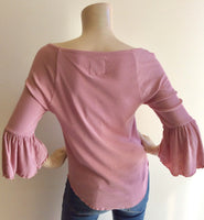 Pale pink 3/4sleeve ruffle top