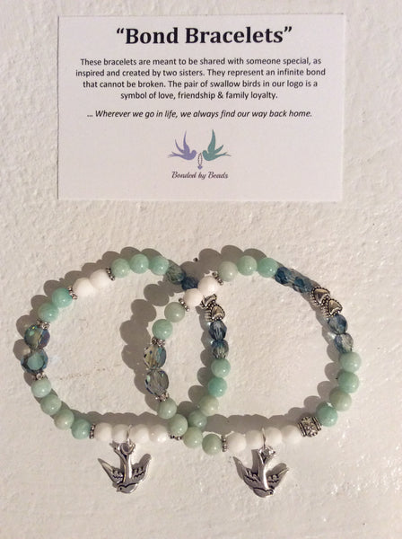 """Mint amazonite"" bracelets, bond bracelets, bonded by beads"