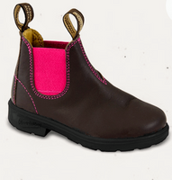 Blundstone girl's Boots in walnut with pink elastic