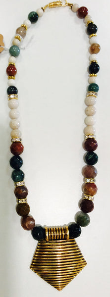 Bonded by beads  70's pendant necklace