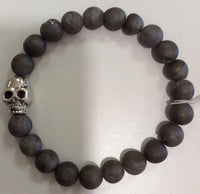 Bonded by beads lava stones and Skull bracelet