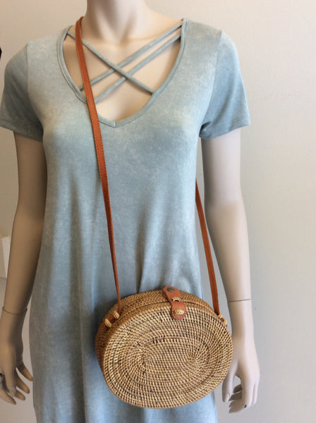 Bobbie wicker purse in natural