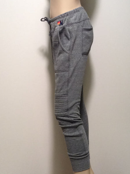 Aviator Nation Moto Legging in Heather grey