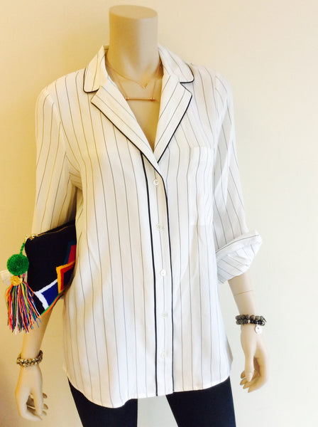 Frame Silk pajama top in Striped Navy