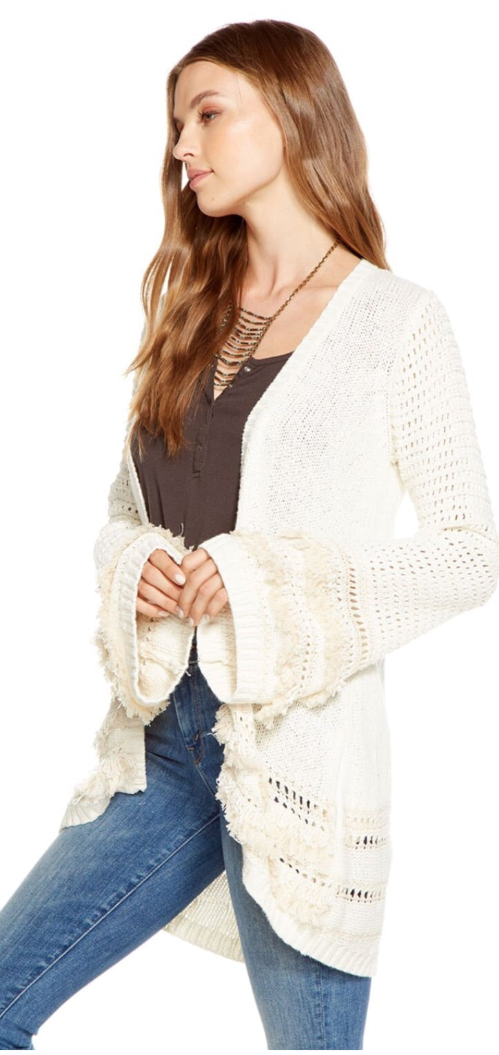 Chaser Fringe bell sleeve cardigan in off white