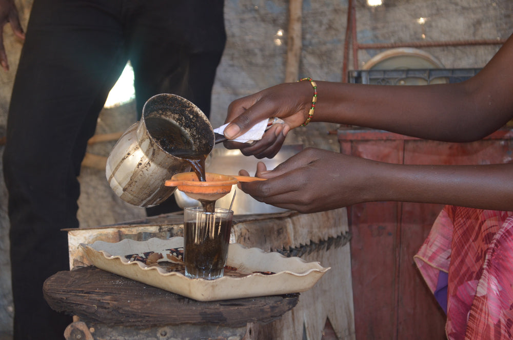 How coffee is traditionally served in Sudan.
