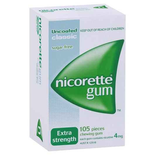 Nicorette Extra Strength Chewing Gum 4mg 105 Classic - EXP 04/2021