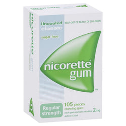 Nicorette Regular Strength Chewing Gum 2mg 105 Classic - EXP 08/2021