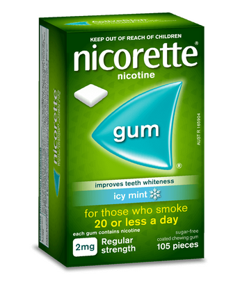 Nicorette Regular Strength Chewing Gum 2mg 105 Icy Mint