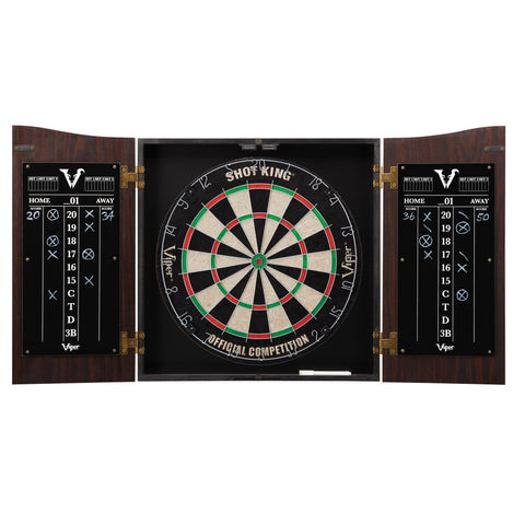 Viper Vault Dartboard Cabinet with Shot King Sisal Dartboard