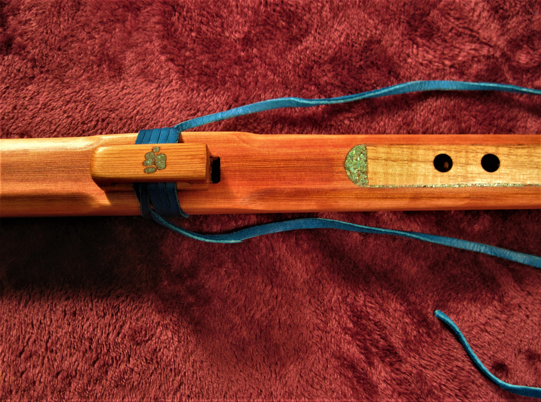 Western Red Cedar Flute with Myrtlewood Fingerboard and Turquoise Inlay G