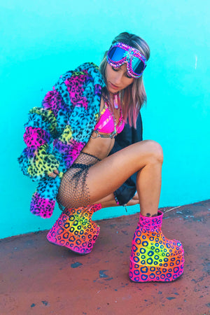 Rainbow Leopard faux fur coat