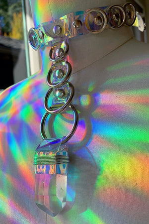 Stacked O-ring Choker - Holographic PVC