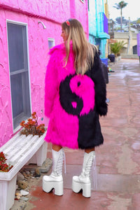 Yin Yang Fur Coat - Black Pink