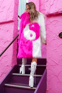 Yin Yang Fur Coat - White Pink